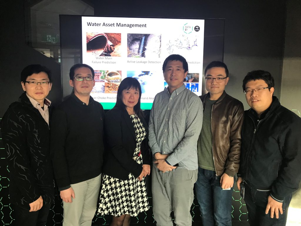 Image of the Smart Infrastructure Team Jianjia Zhang, Yang Wang, Fang Chen. Zhidong Li, Bin Liang, Matt Zhang