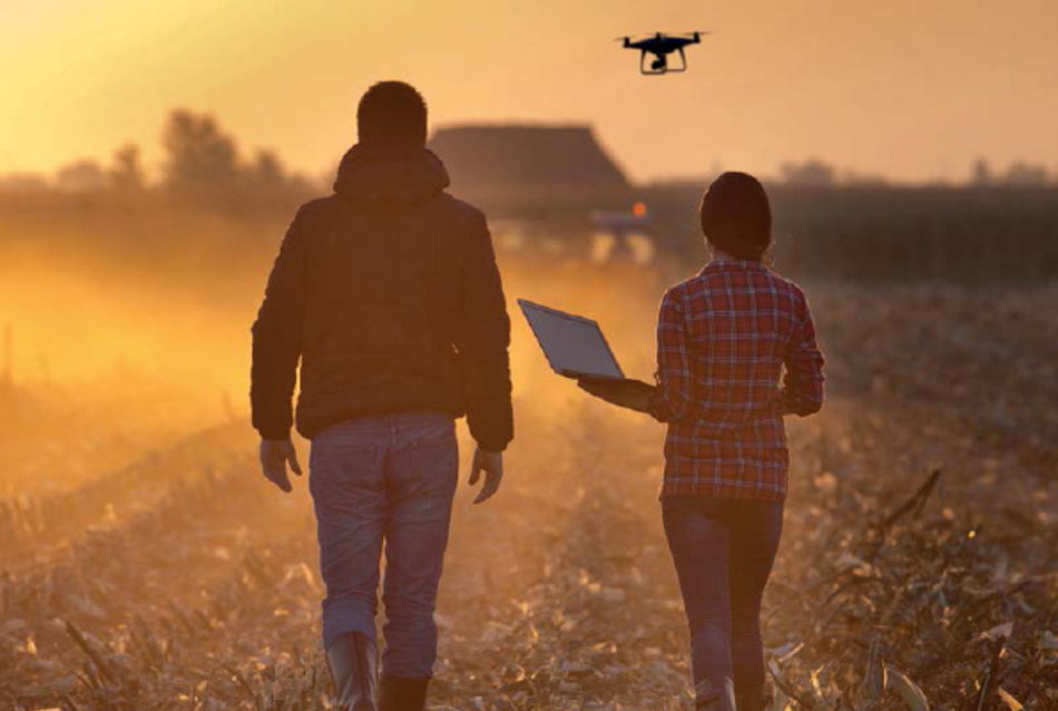 Two people walking through farm field with a drone flying overhead
