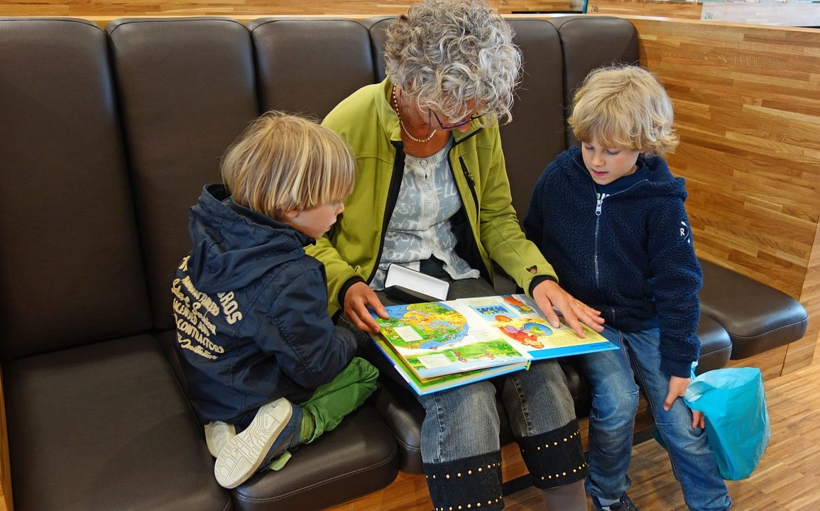 A lady reading a book to two young boys on a couch