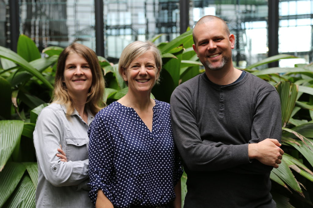 Our former researchers Laura Jones, Nancy Schellhorn and Darren Moore founded RapidAIM to take their solution to the world. Credit: RapidAIM.