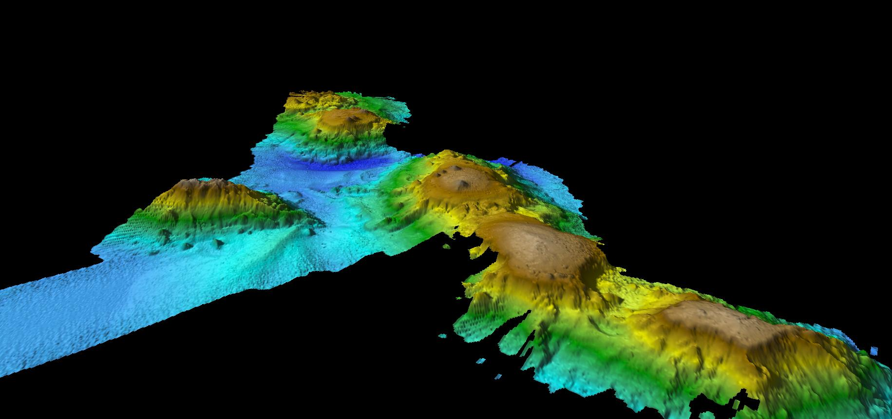 Underwater map of seamounts