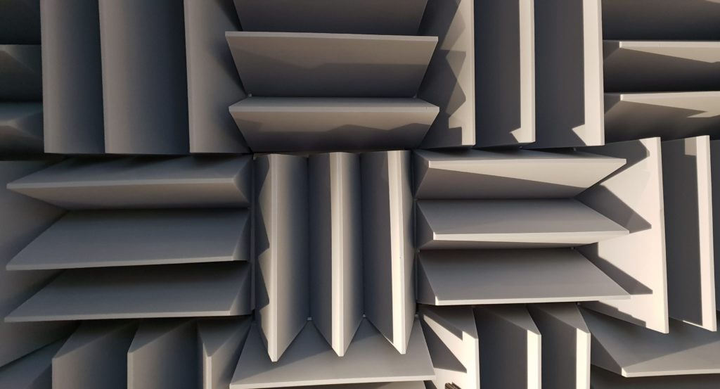 The padded cone walls of the anechoic chamber