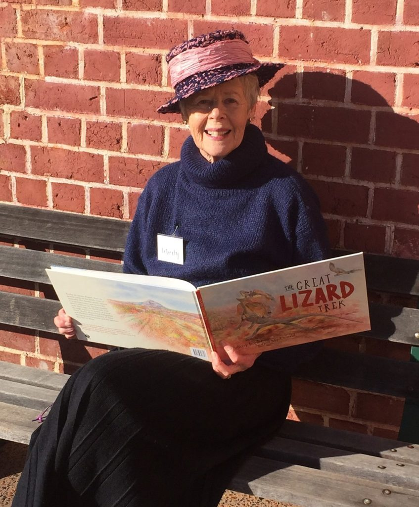 Felicity Bradshaw with her book The Great Lizard Treck
