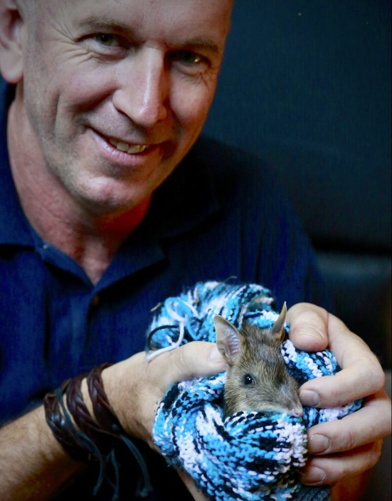 Author Rohan Cleave with a bandicoot