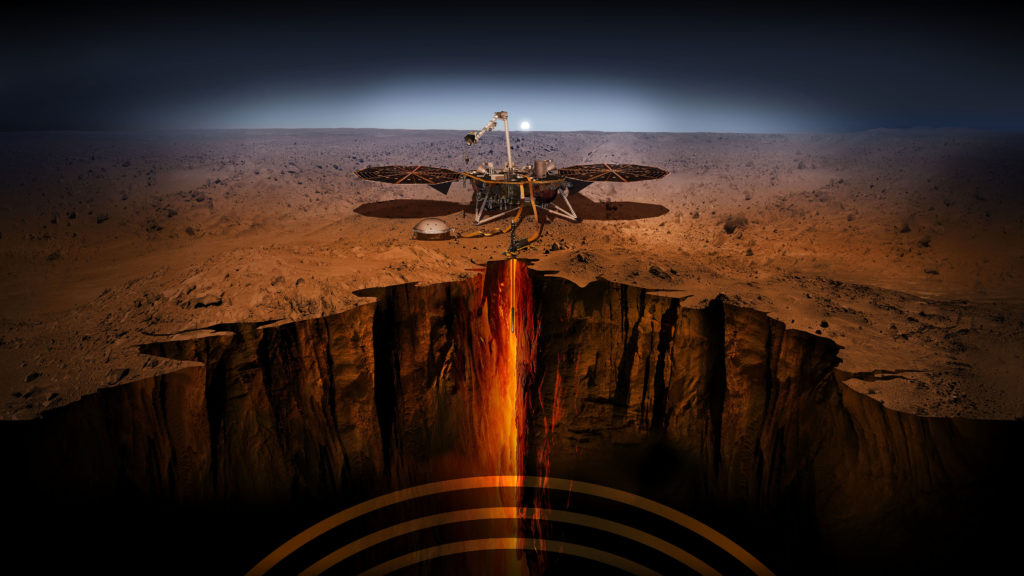 Artist's impression of NASA successfully landing the first robotic lander, InSight on Mars.