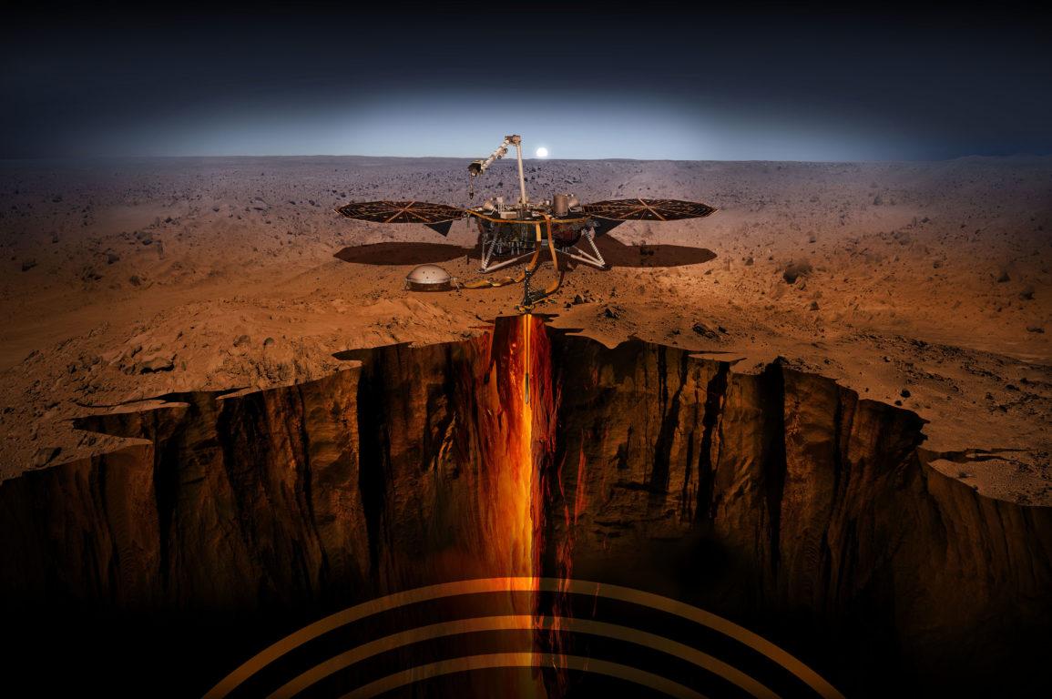 Artist's impression of NASA successfully landing the first robotic lander, InSight on Mars.