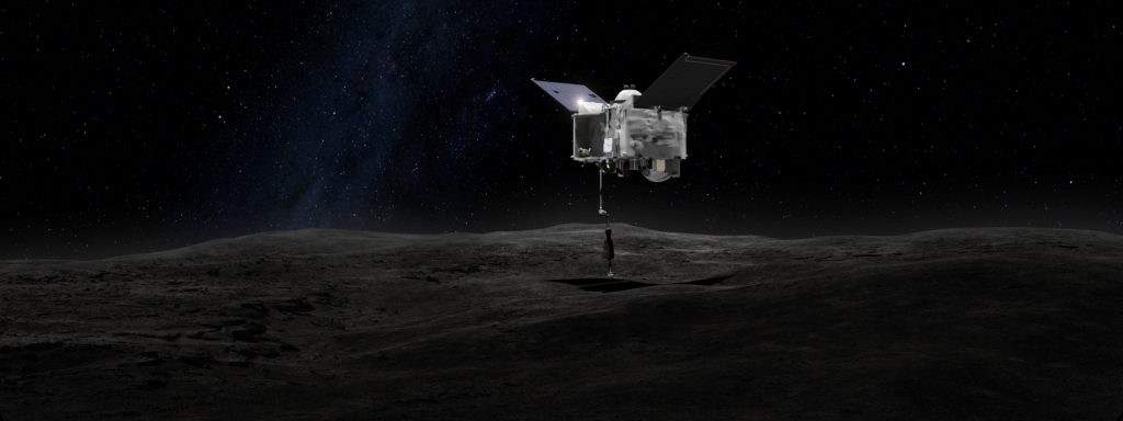 This artist's concept shows the OSIRIS-REx spacecraft contacting the asteroid Bennu with the Touch-And-Go Sample Arm Mechanism or TAGSAM.