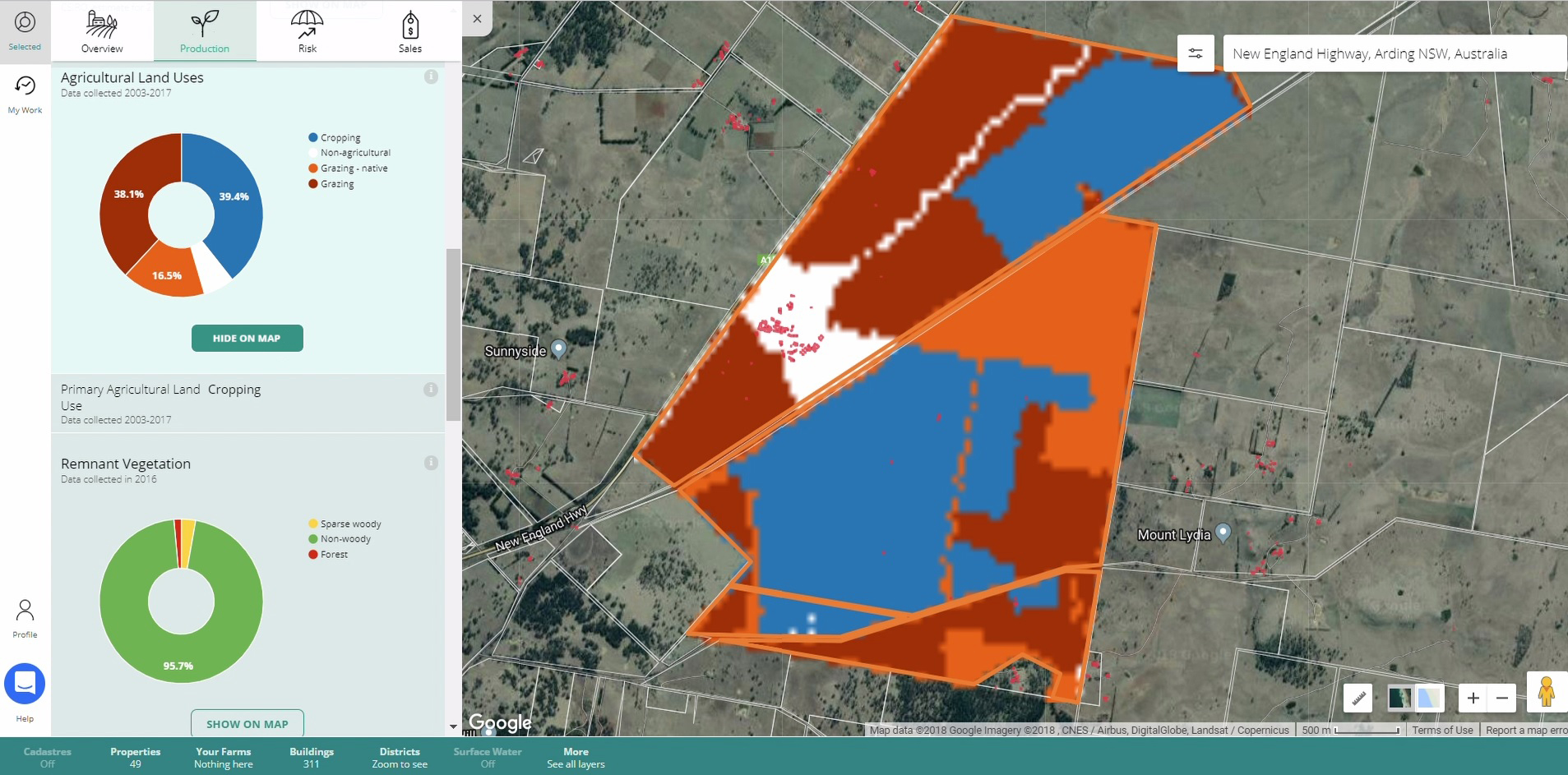 Screen capture from the rural Intelligence Platform showing a property and its different land uses, e.g. cropping and grazing in different colours