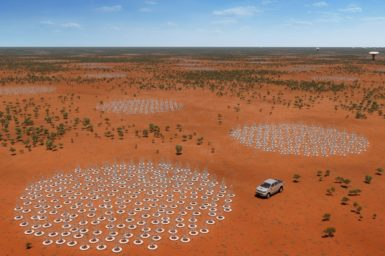 An artist's impression of the future Square Kilometre Array (SKA) in Australia, showing 132,000 low frequency antennas (resembling metal Christmas trees) in groupings across the outback in Western Australia.