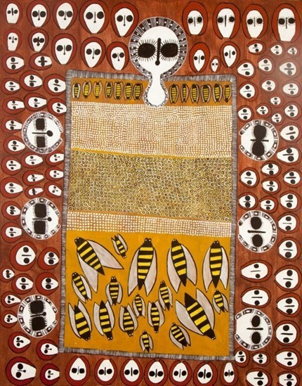Australian Indigenous art piece which features bees in the lower third of the photo