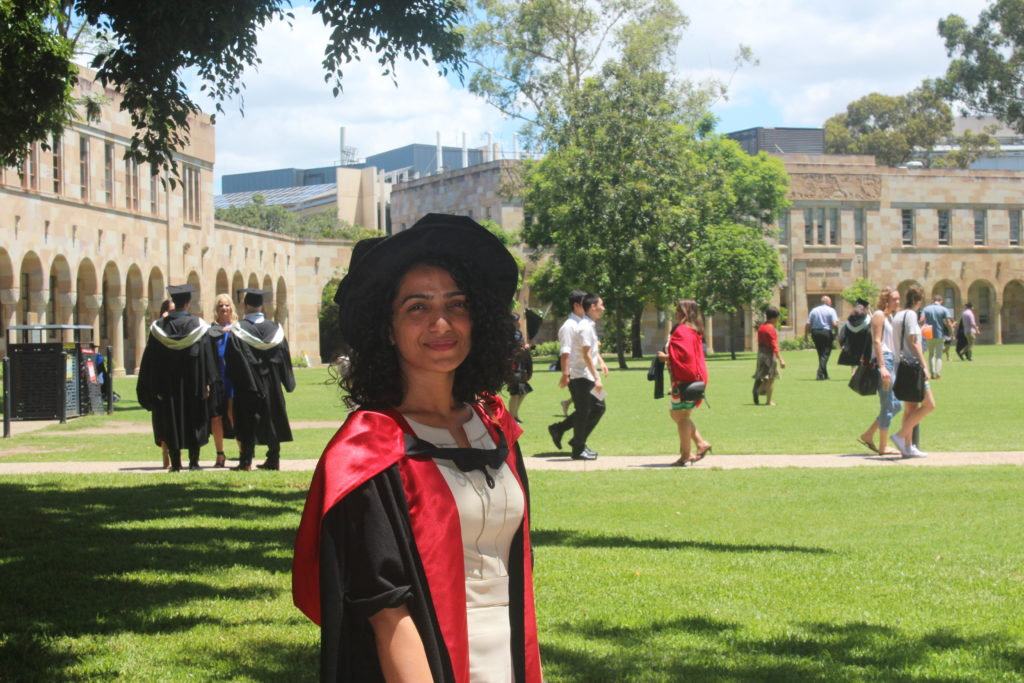 Anu Choudhary in her graduation gowns at the University of Queensland