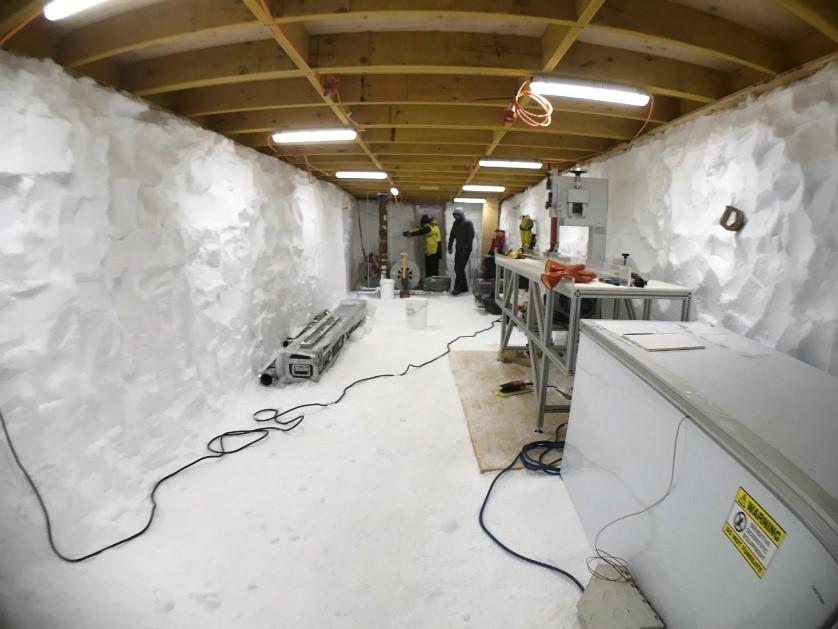 room built in the snow in Antarctica