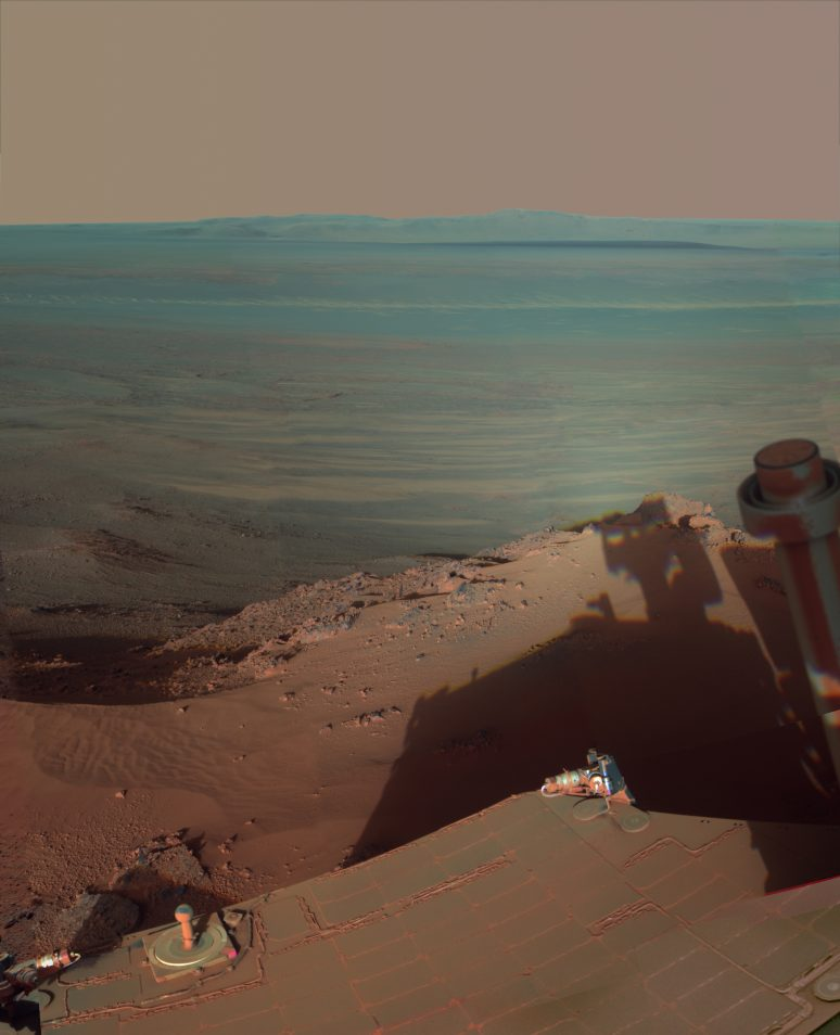view eastward across Endeavour Crater on Mars