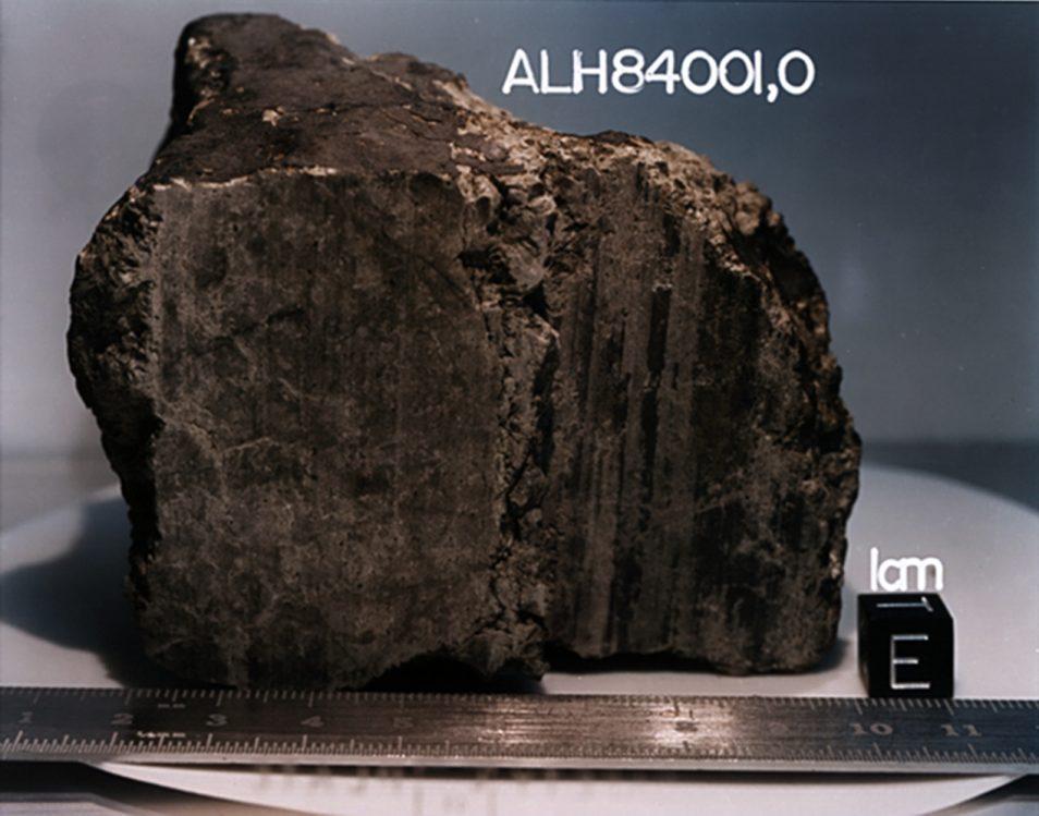 4.5 billion-year-old rock, labelled meteorite