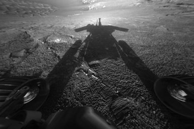 Front headcams of Opportunity Rover on Mars showing shadow