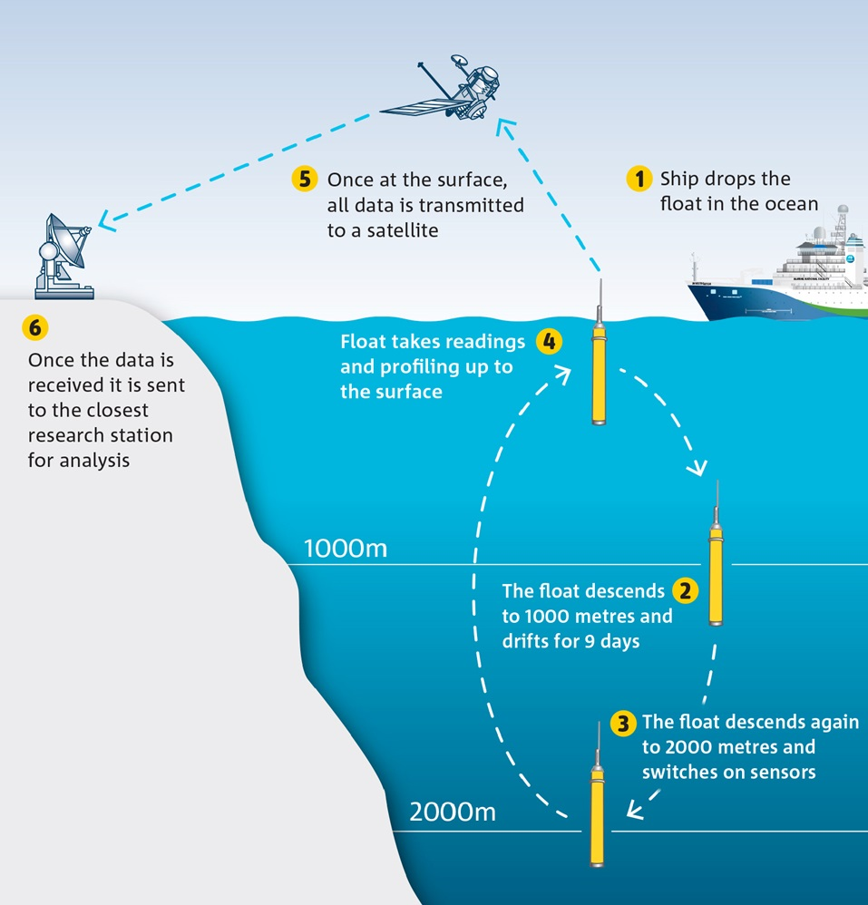 A graphic showing the Argo float moving up and down through the water column and transmitting its data back to research stations via satellite.