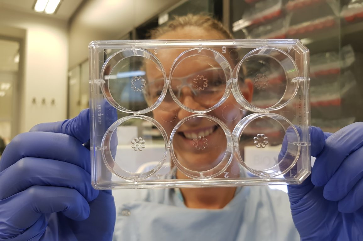 Dr Nina Pollak holding up printed prototypes of the synthetic jellyfish.