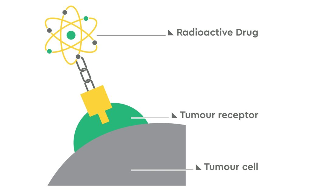 An illustration of a molecule carrying a radioactive drug linked to a cancer cell through a tumour receptor.