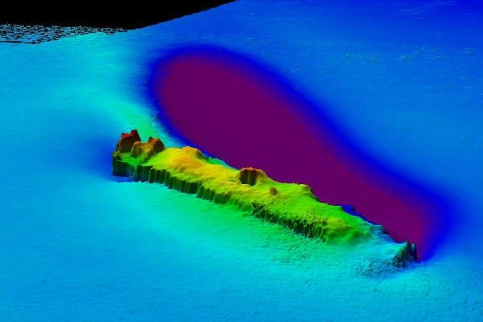 Sonar image with a blue surrounding and green raised mass visible.