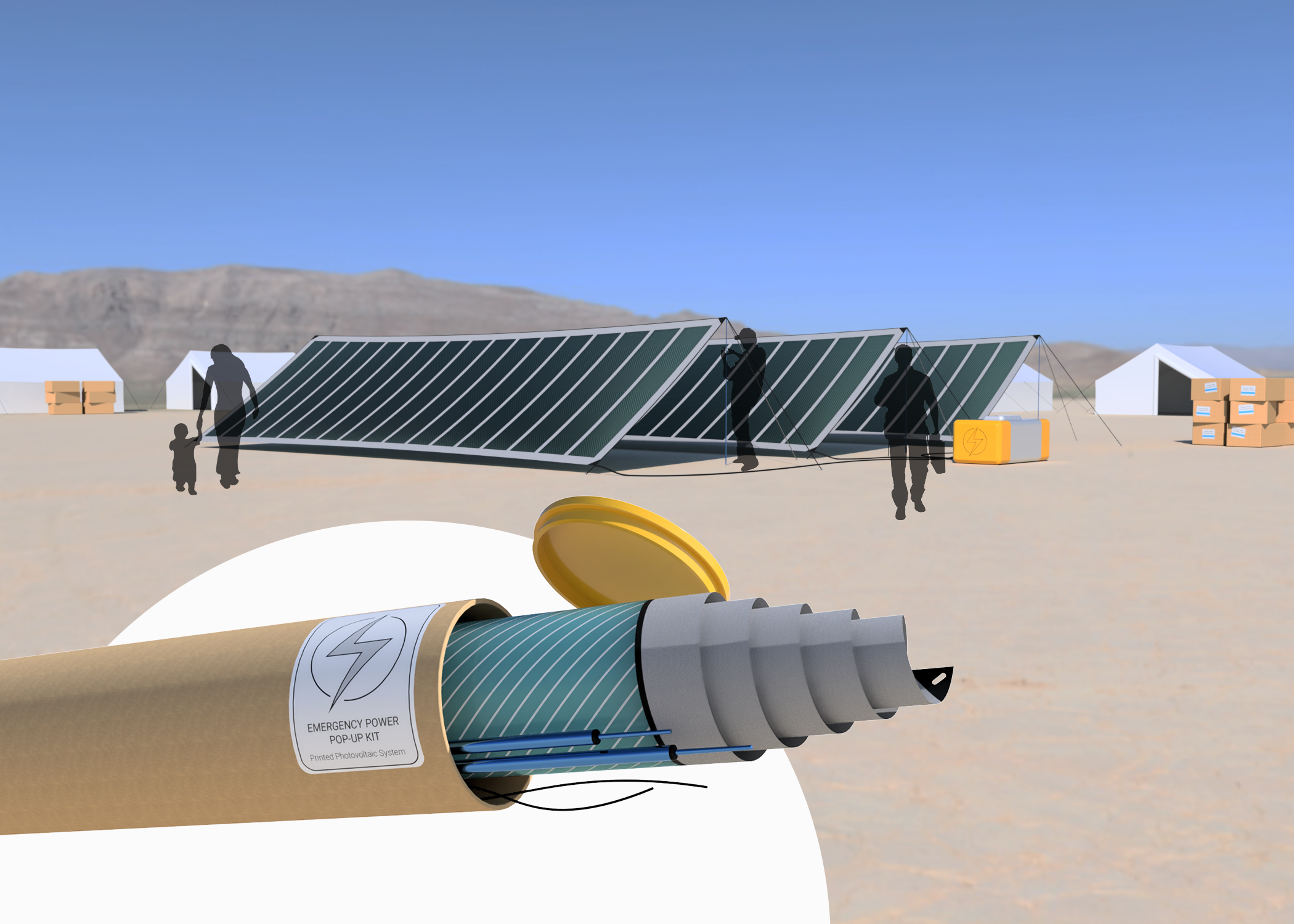 render of a remote sandy area with tents made from flexible solar panels