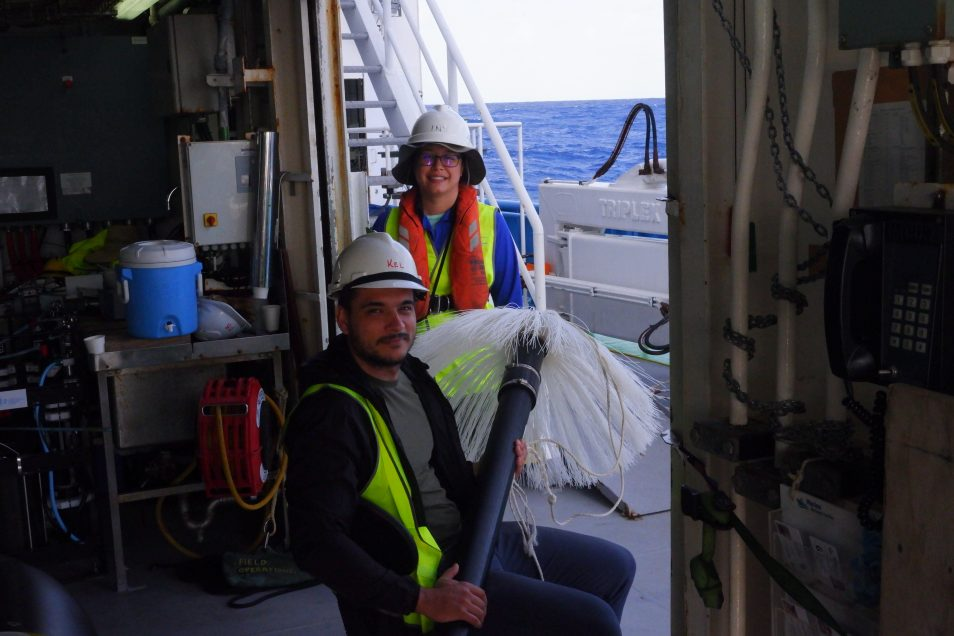CSIRO phD student Maxime Marin with a colleague on board the Investigator.