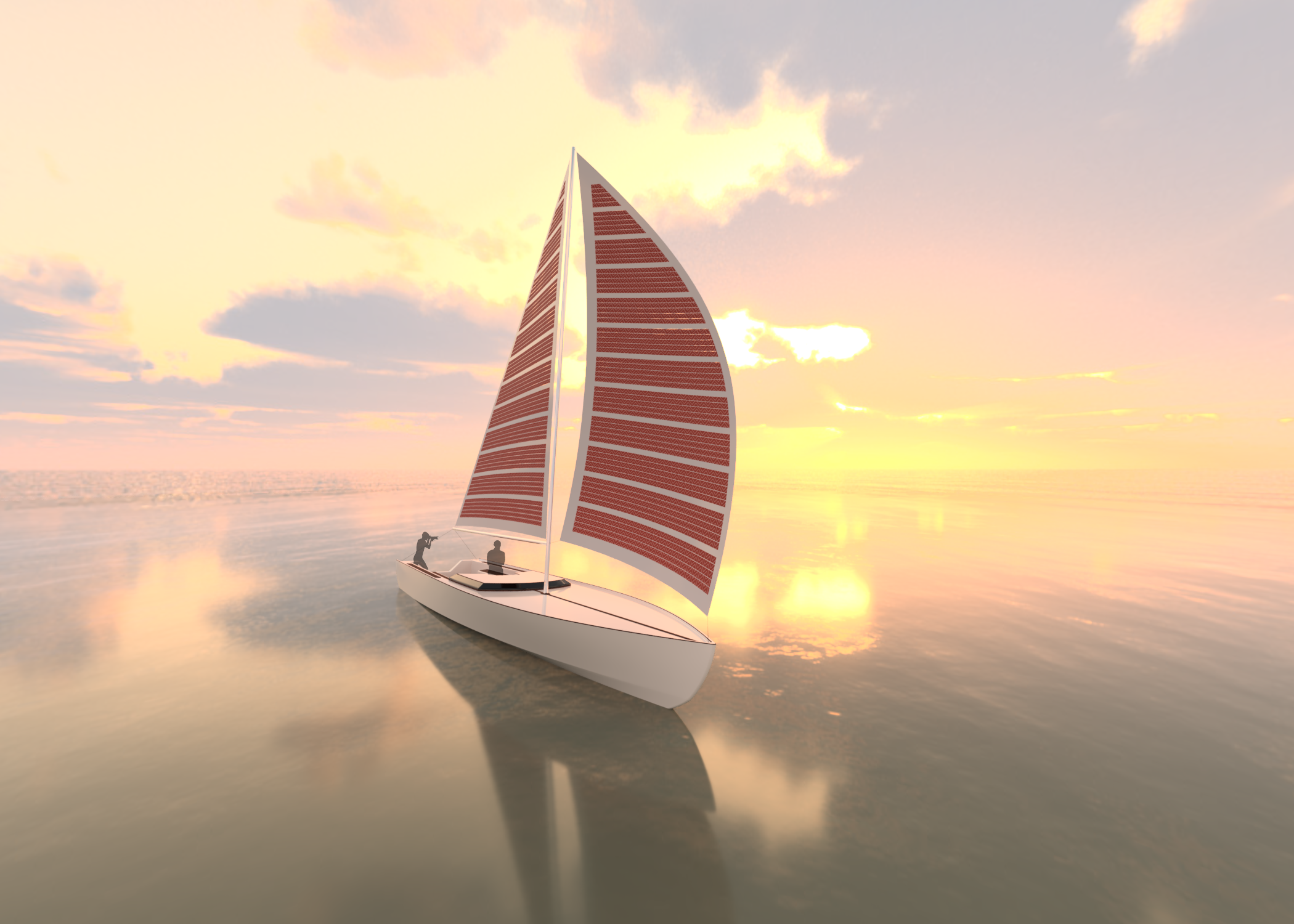 A boat sailing on calm water at sunrise with sail made from flexible solar panels