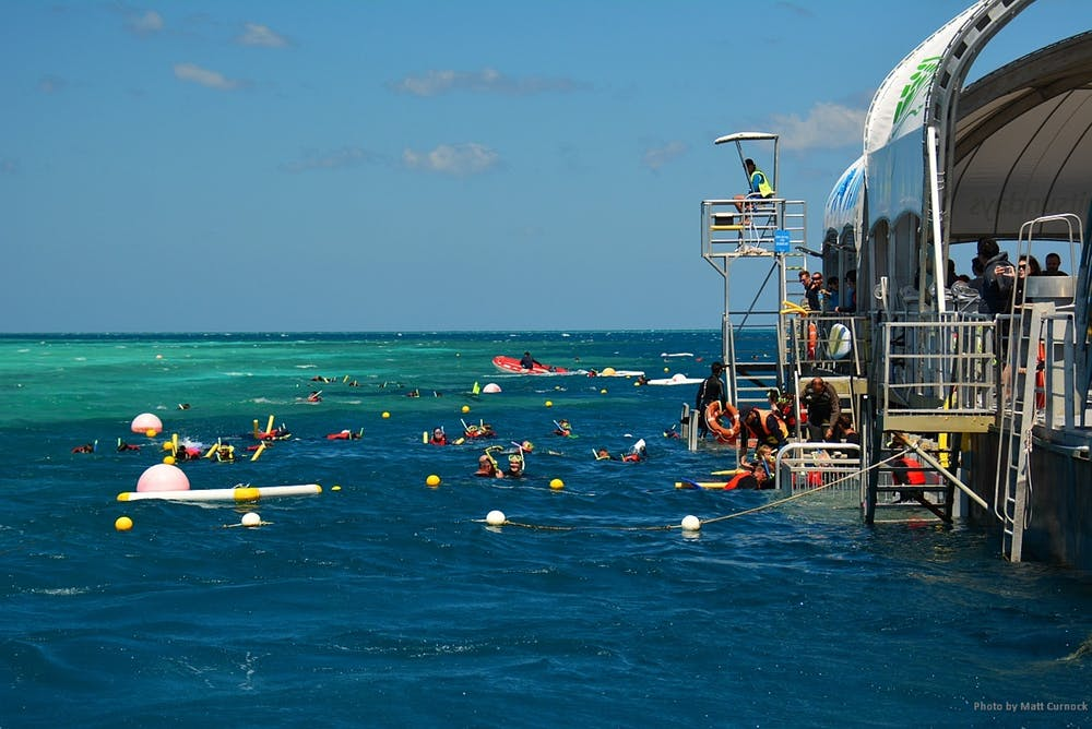 Tourists snorkling on the Great Barrier Reef