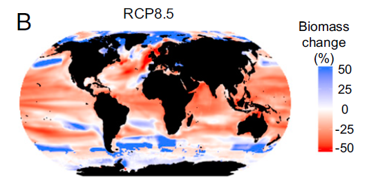 Graph showing a map of the world and the projected change in marine animal biomass by the end of the century if emissions remain high.