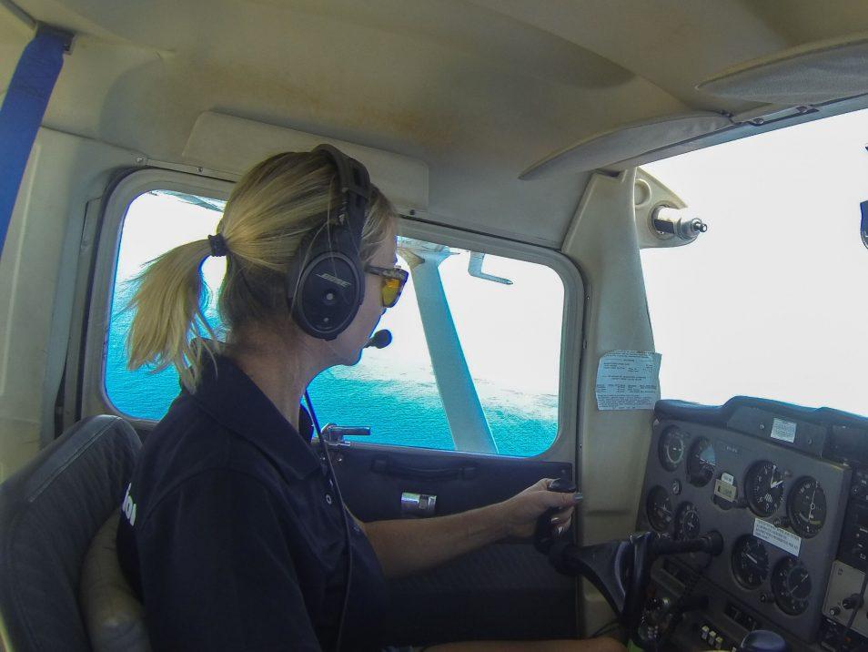 Tiffany Klein piloting an aeroplane