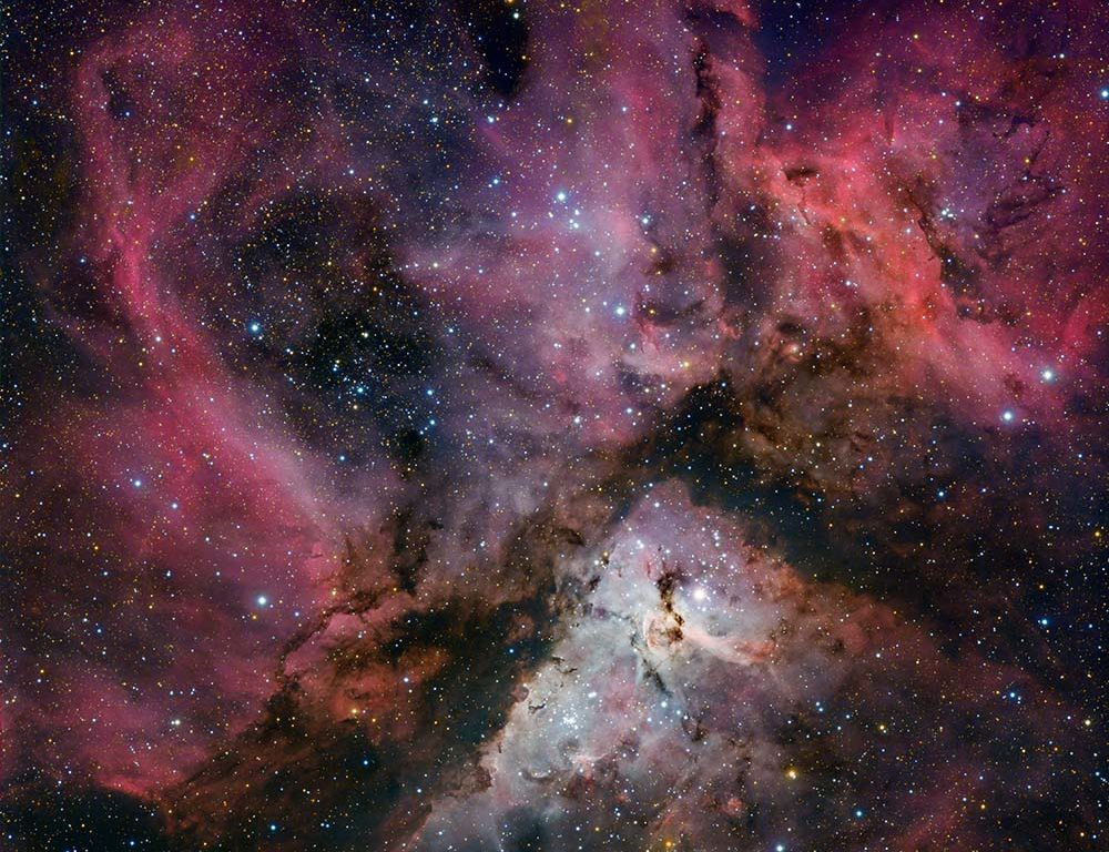 Pink and purple photograph of the universe