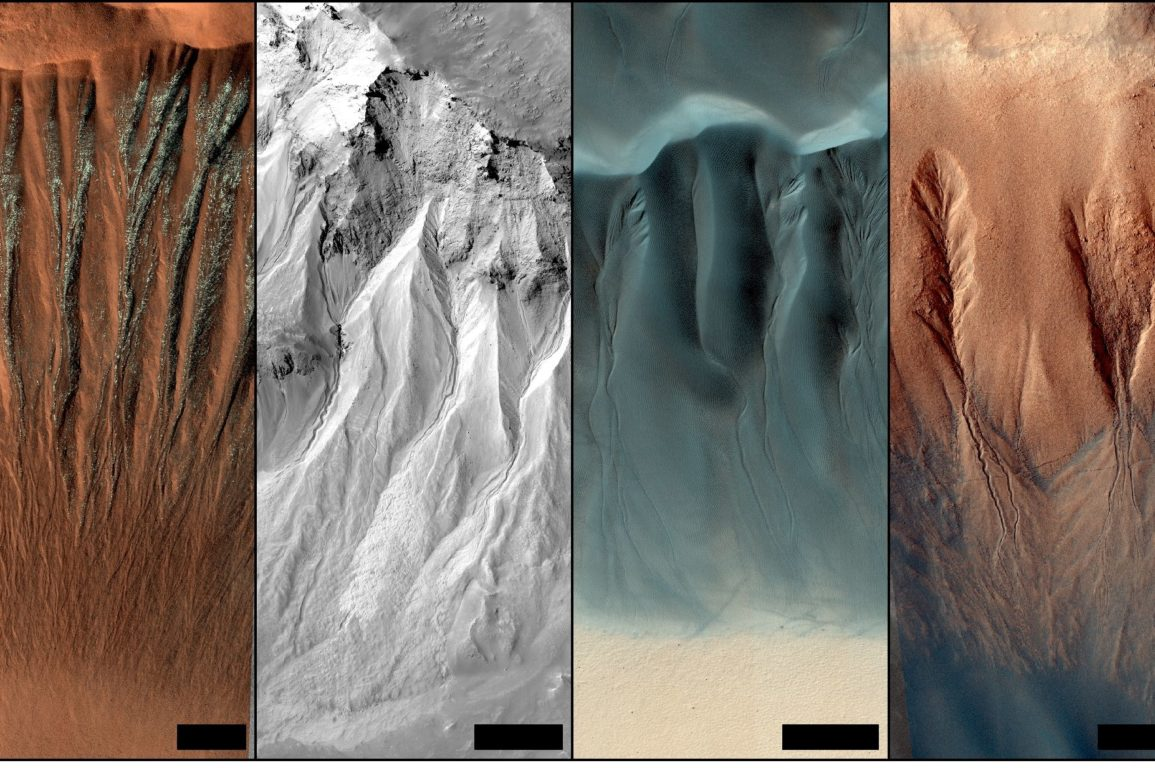 Examples of gullies on Mars