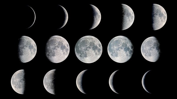 Image showing the moon at different phases.