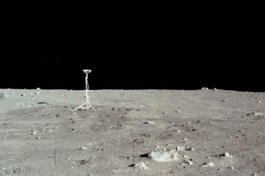 Photograph of the TV camera left on the moon.