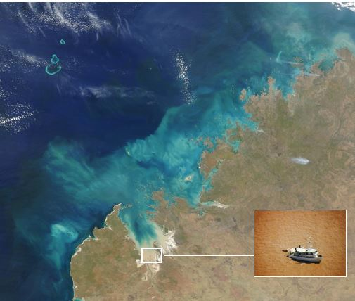 This satellite imagery of the Kimberley region demonstrates the high levels of turbidity that have been observed.