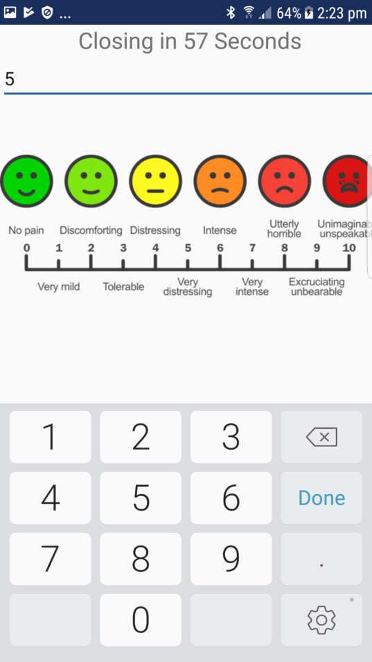 A screencap of a mobile phone app, showing a range of faces from sad to happy, with the pain scale rating from No Pain to Unimaginable.
