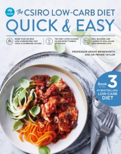 The cover for our new Low carb book with a meal of shredded carrot, salad and vegetables in a tomato based sauce in a white bowl on a grey plate. There is a fork next to it