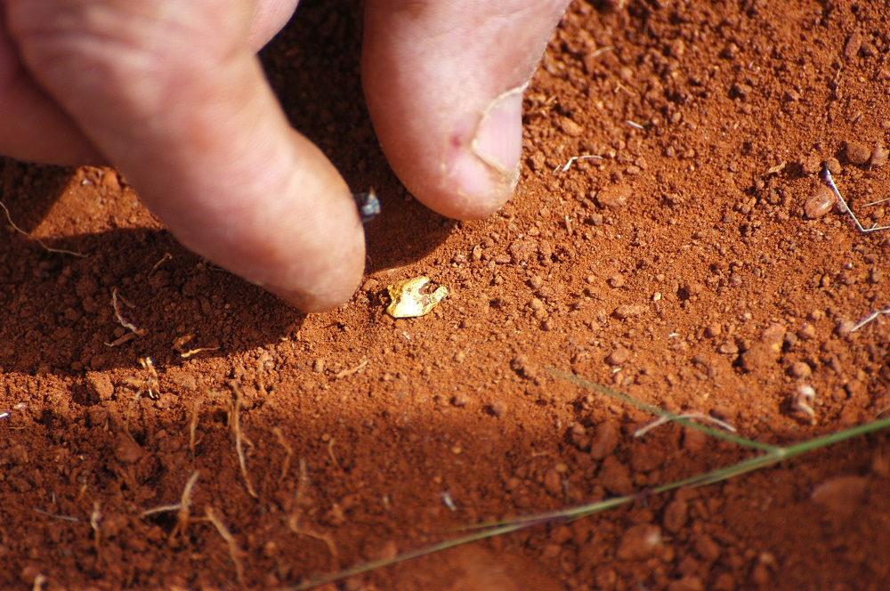 Hand picking up Pilbara gold nugget out of rust-red dirt