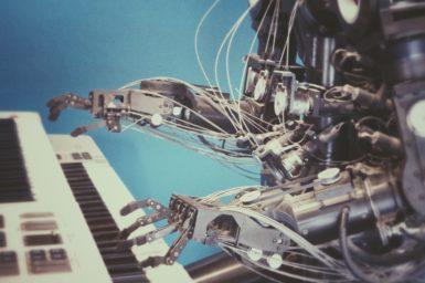 robot playlist playing piano