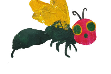 Painting of a very hungry Spider Wasp