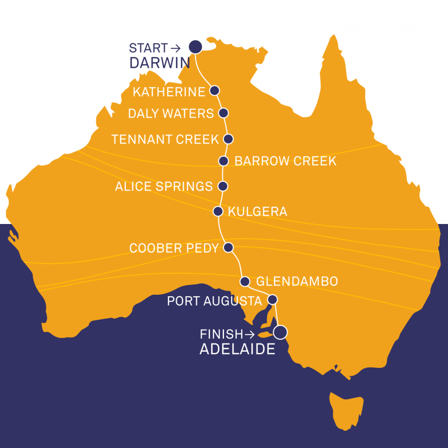 an infographic of the route map for the world solar challenge. It map says that the race stars in Darwin, NT and moves down through Katherine, Daly Waters, Tennant Creek, Barrow Creek, Alice Springs, Kulgera, Coober Pedy, Glendambo, Port Augusta and then to Adelaide, SA where it finishes.