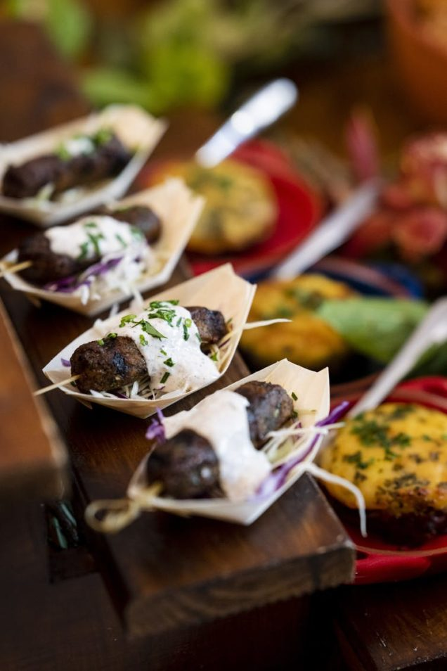 Plant-based meat canapes on a table