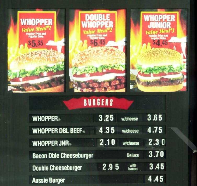 Picture of food menu board at a fast food restaurant.