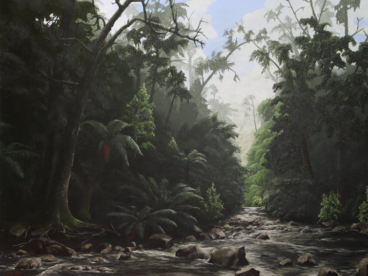 A painting of trees and a creek