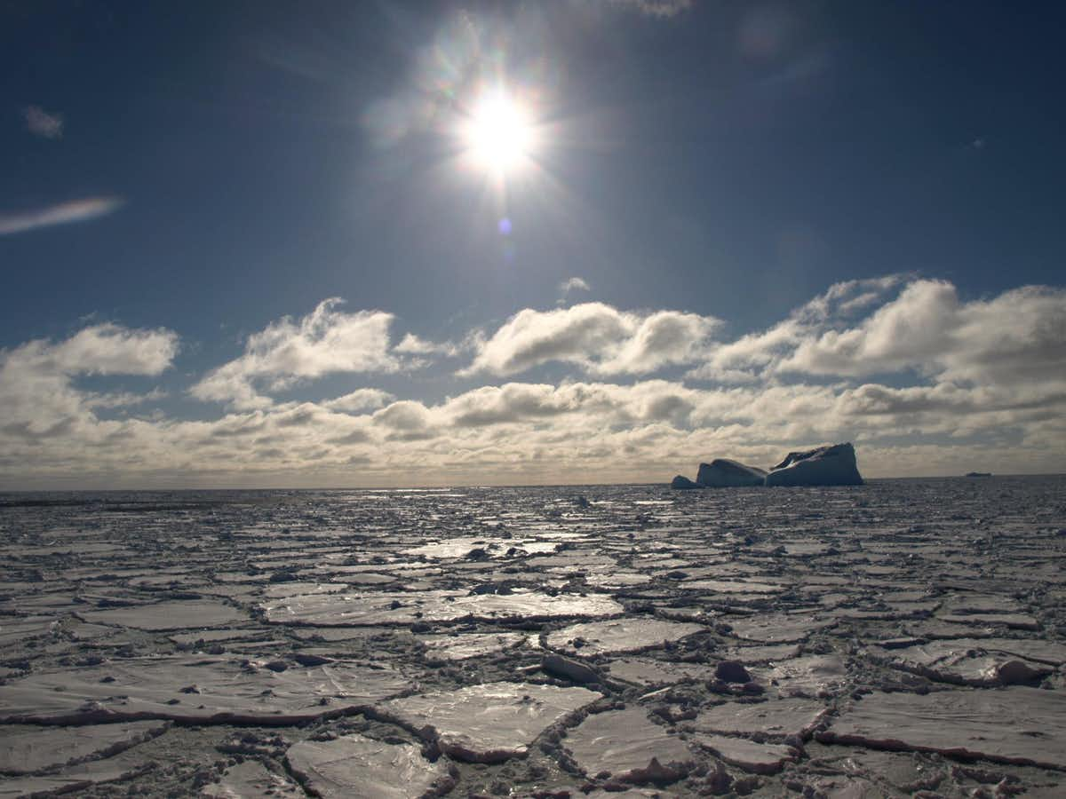 cracked ice sheet under a blue sky with the sun shining and there is an iceberg in the background