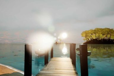 artists impression of a pier over the water and the sun shining