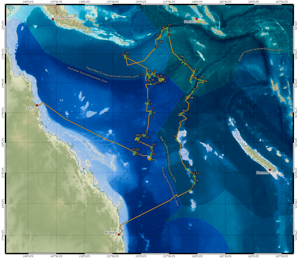 Illustration highlighting the route taken by Investigator. It starts in Cairns and goes through the Coral sea to Brisbane,