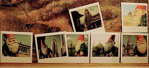 Polaroids of a gnome around different global landmarks