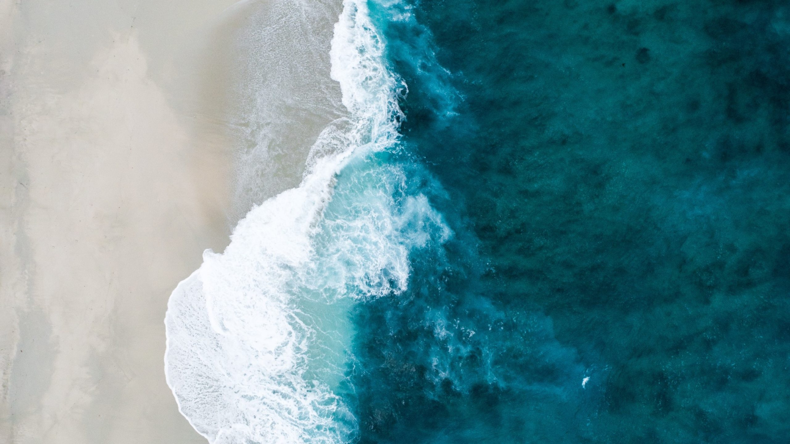 arial view of the ocean showing the waves hitting the sandy shore