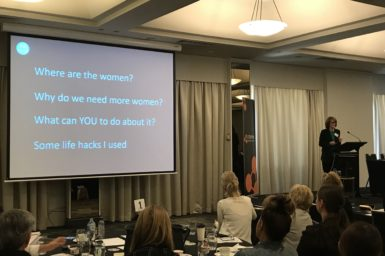 Cathy Foley speaking at Public Sector Women in Leadership Summit about women in stem