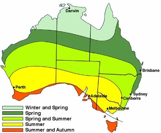 map of australia showing bushfire season times across the country ranging from Summer to Autumn towards the bottom of Australia and Winter to Spring further north